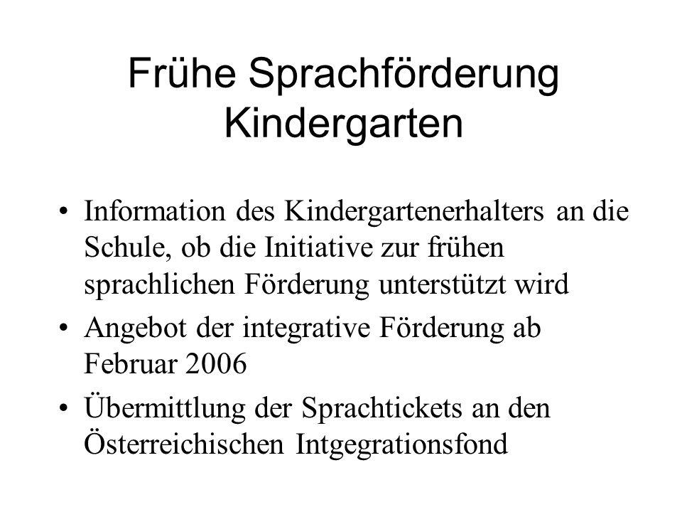Frühe Sprachförderung Kindergarten Information des Kindergartenerhalters an die Schule, ob die Initiative zur frühen sprachlichen Förderung unterstützt wird Angebot der integrative Förderung ab Februar 2006 Übermittlung der Sprachtickets an den Österreichischen Intgegrationsfond