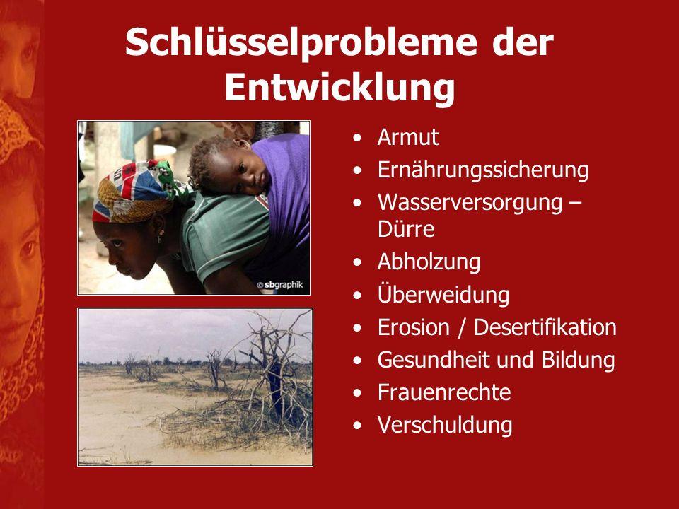 Schlüsselprobleme der Entwicklung Armut Ernährungssicherung Wasserversorgung – Dürre Abholzung Überweidung Erosion / Desertifikation Gesundheit und Bildung Frauenrechte Verschuldung