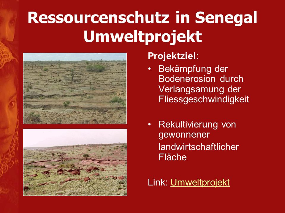 Ressourcenschutz in Senegal Umweltprojekt Projektziel: Bekämpfung der Bodenerosion durch Verlangsamung der Fliessgeschwindigkeit Rekultivierung von gewonnener landwirtschaftlicher Fläche Link: UmweltprojektUmweltprojekt