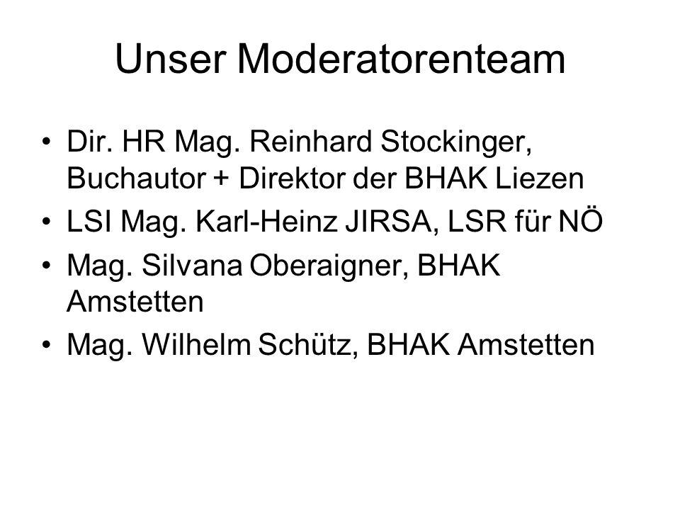 Unser Moderatorenteam Dir. HR Mag.