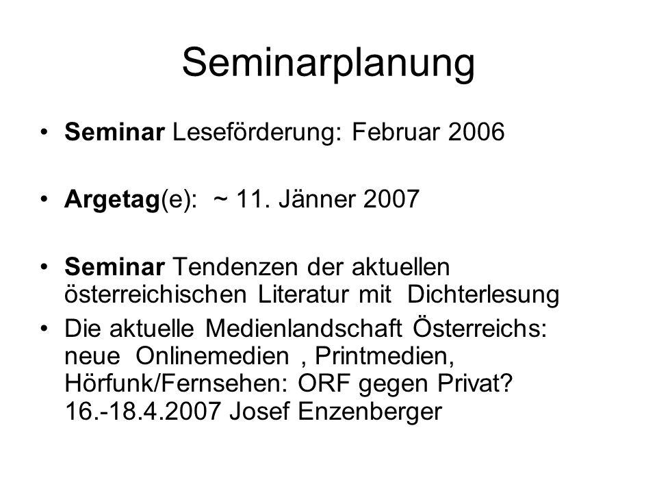 Seminarplanung Seminar Leseförderung: Februar 2006 Argetag(e): ~ 11.