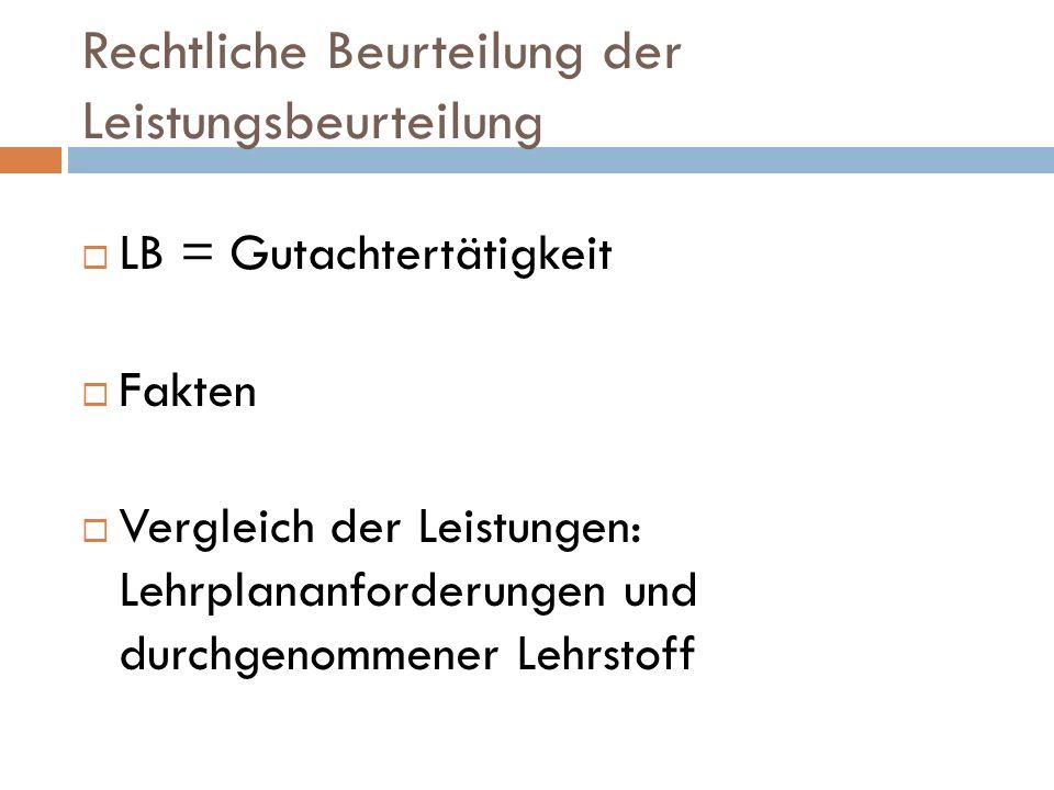 Rechtliche Beurteilung der Leistungsbeurteilung LB = Gutachtertätigkeit Fakten Vergleich der Leistungen: Lehrplananforderungen und durchgenommener Lehrstoff