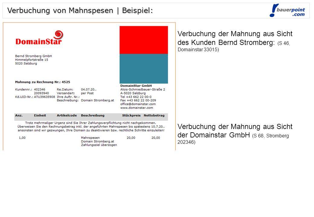 Folie 1 © bauerpoint.com Verbuchung von Mahnspesen | Beispiel: Verbuchung der Rechnung aus Sicht des Kunden Bernd Stromberg: (E250, Domainstar 33015) Verbuchung der Rechnung aus Sicht der Domainstar GmbH (AR 4525, Stromberg 202346, Ertragskonto 4018 Domainerlöse)