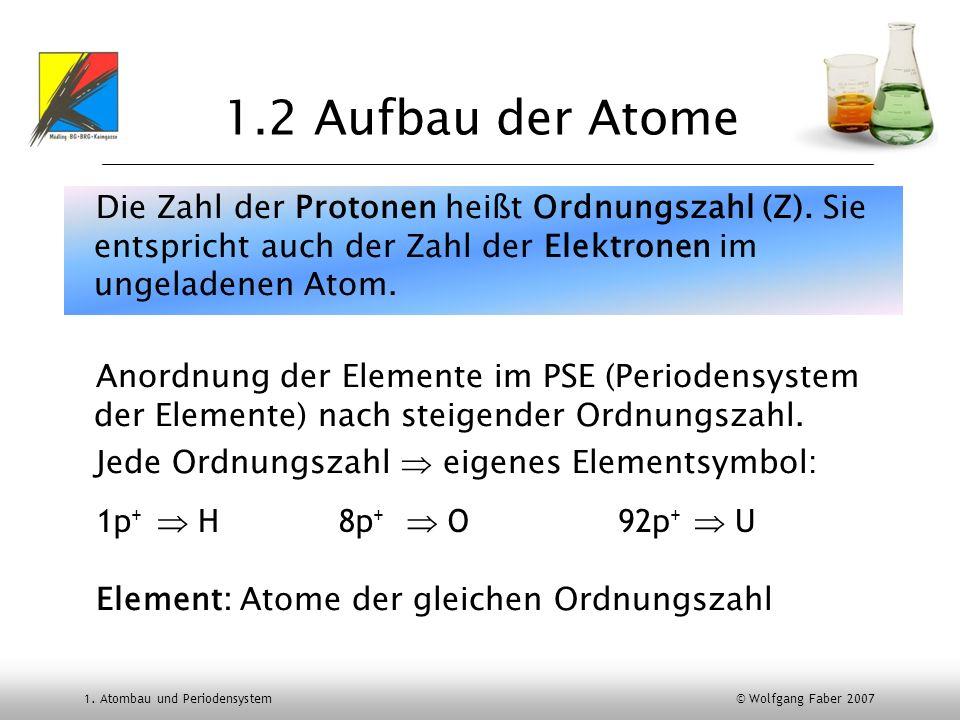 1. Atombau und Periodensystem © Wolfgang Faber 2007 1.2 Aufbau der Atome Die Zahl der Protonen heißt Ordnungszahl (Z). Sie entspricht auch der Zahl de