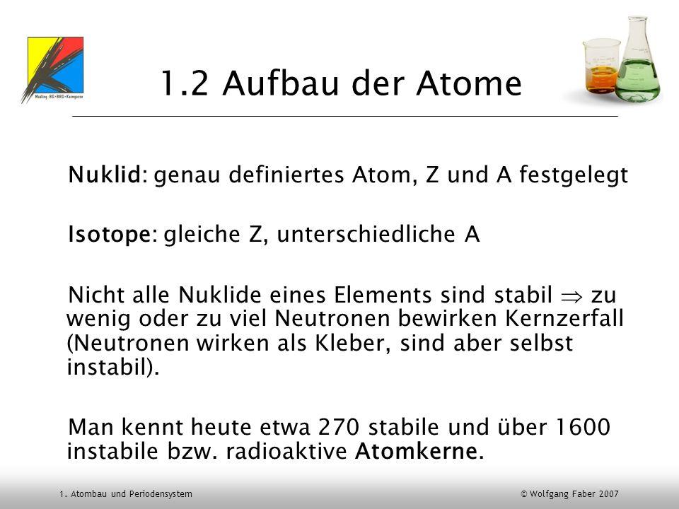 1. Atombau und Periodensystem © Wolfgang Faber 2007 1.2 Aufbau der Atome Nuklid: genau definiertes Atom, Z und A festgelegt Isotope: gleiche Z, unters