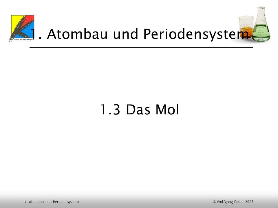 1. Atombau und Periodensystem © Wolfgang Faber 2007 1. Atombau und Periodensystem 1.3 Das Mol