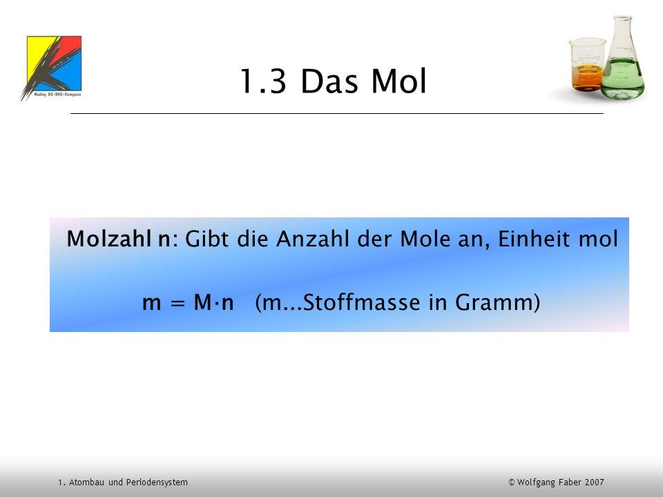 1. Atombau und Periodensystem © Wolfgang Faber 2007 1.3 Das Mol Molzahl n: Gibt die Anzahl der Mole an, Einheit mol m = Mn (m...Stoffmasse in Gramm)