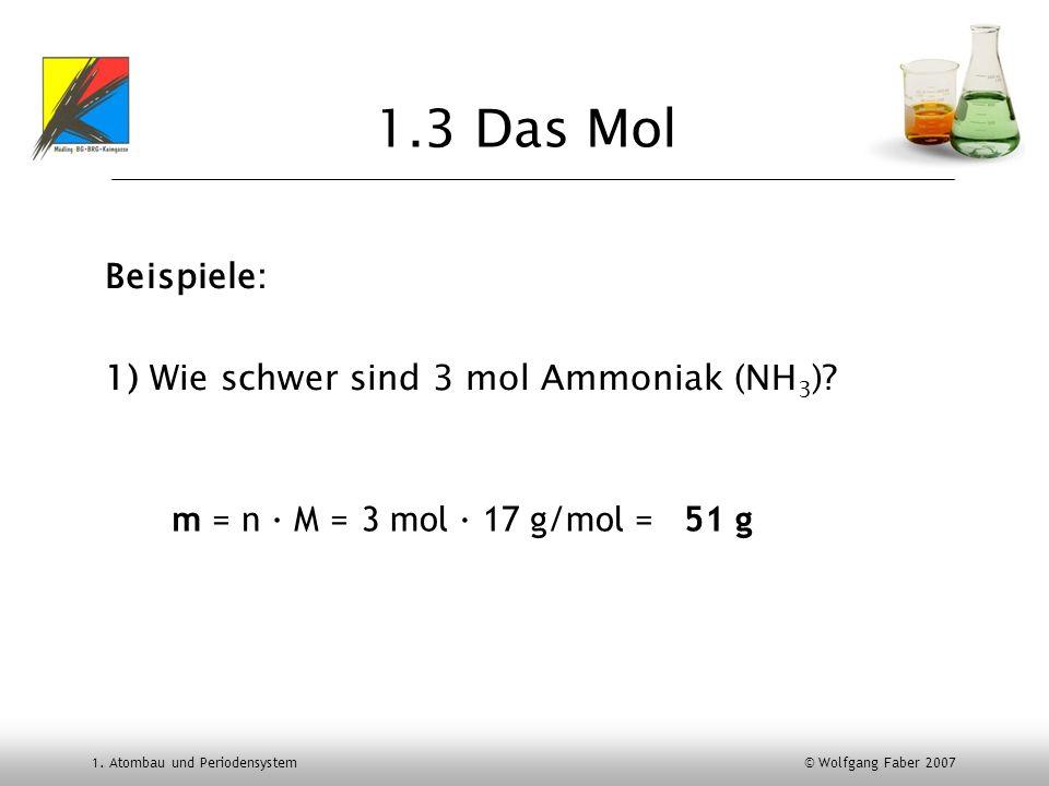 1. Atombau und Periodensystem © Wolfgang Faber 2007 1.3 Das Mol Beispiele: 1) Wie schwer sind 3 mol Ammoniak (NH 3 )? m = n M =3 mol 17 g/mol =51 g