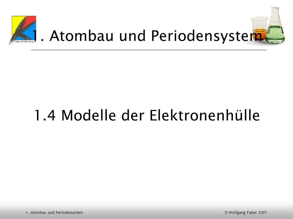 1. Atombau und Periodensystem © Wolfgang Faber 2007 1. Atombau und Periodensystem 1.4 Modelle der Elektronenhülle
