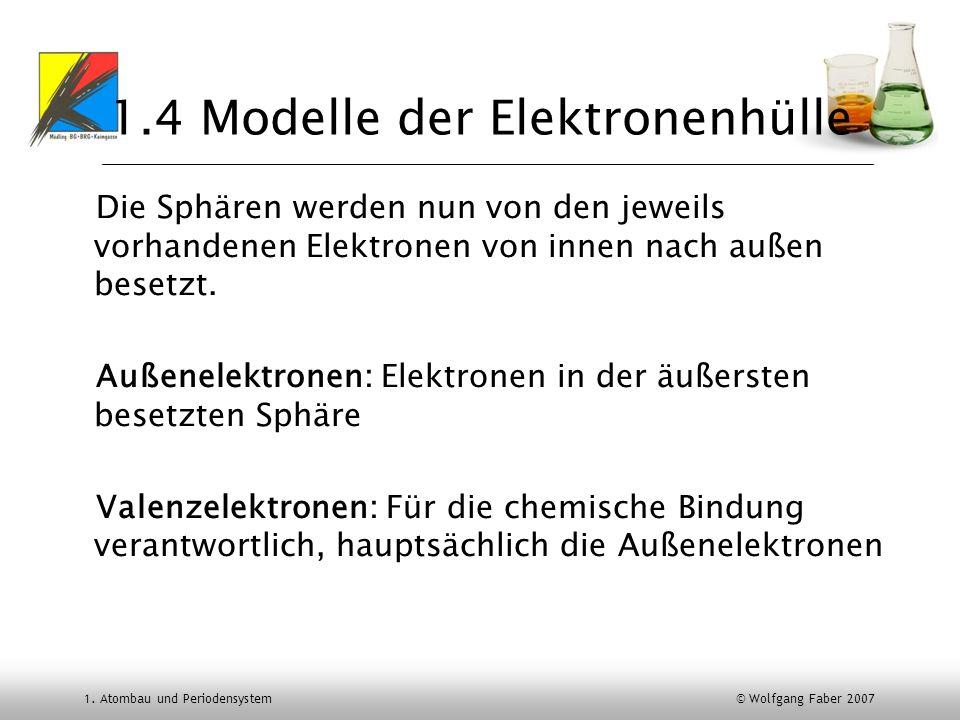 1. Atombau und Periodensystem © Wolfgang Faber 2007 1.4 Modelle der Elektronenhülle Die Sphären werden nun von den jeweils vorhandenen Elektronen von