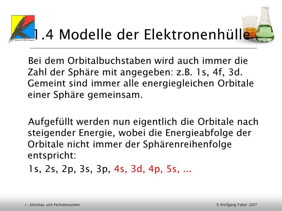 1. Atombau und Periodensystem © Wolfgang Faber 2007 1.4 Modelle der Elektronenhülle Bei dem Orbitalbuchstaben wird auch immer die Zahl der Sphäre mit