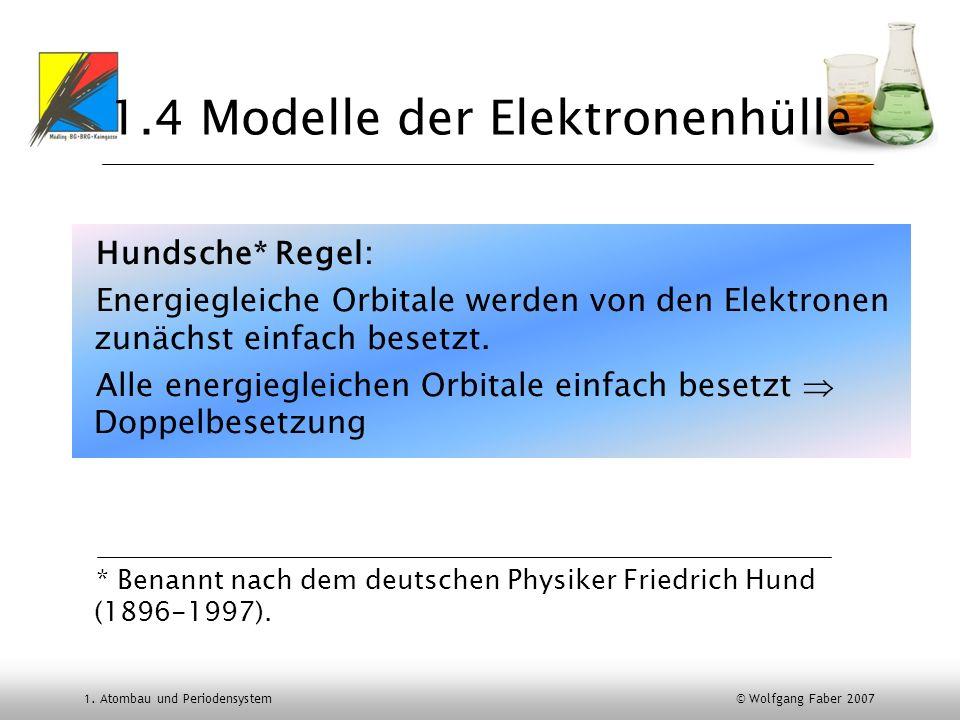 1. Atombau und Periodensystem © Wolfgang Faber 2007 1.4 Modelle der Elektronenhülle Hundsche* Regel: Energiegleiche Orbitale werden von den Elektronen