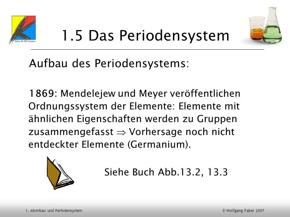 1. Atombau und Periodensystem © Wolfgang Faber 2007 1.5 Das Periodensystem Aufbau des Periodensystems: 1869: Mendelejew und Meyer veröffentlichen Ordn