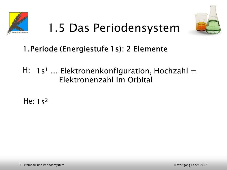 1. Atombau und Periodensystem © Wolfgang Faber 2007 1.5 Das Periodensystem 1.Periode (Energiestufe 1s): 2 Elemente 1s 1... Elektronenkonfiguration, Ho