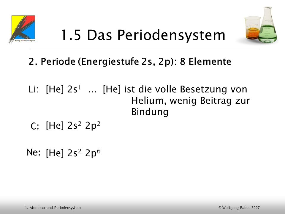 1. Atombau und Periodensystem © Wolfgang Faber 2007 1.5 Das Periodensystem 2. Periode (Energiestufe 2s, 2p): 8 Elemente Li: [He] 2s 1...[He] ist die v