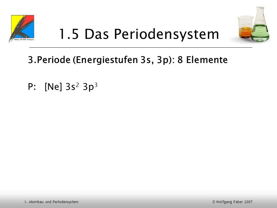1. Atombau und Periodensystem © Wolfgang Faber 2007 1.5 Das Periodensystem 3.Periode (Energiestufen 3s, 3p): 8 Elemente [Ne] 3s 2 3p 3 P: