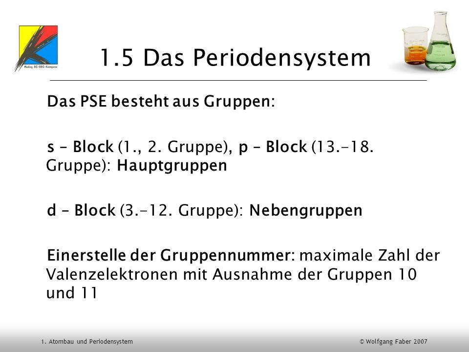 1. Atombau und Periodensystem © Wolfgang Faber 2007 1.5 Das Periodensystem Das PSE besteht aus Gruppen: s – Block (1., 2. Gruppe), p – Block (13.-18.
