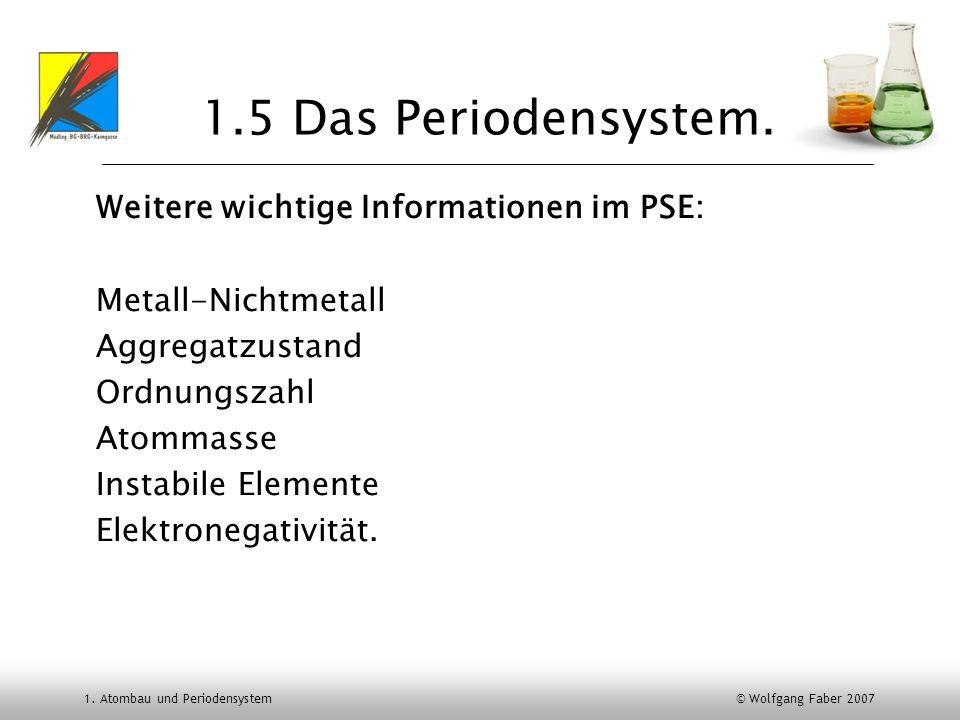 1. Atombau und Periodensystem © Wolfgang Faber 2007 1.5 Das Periodensystem. Weitere wichtige Informationen im PSE: Metall-Nichtmetall Aggregatzustand