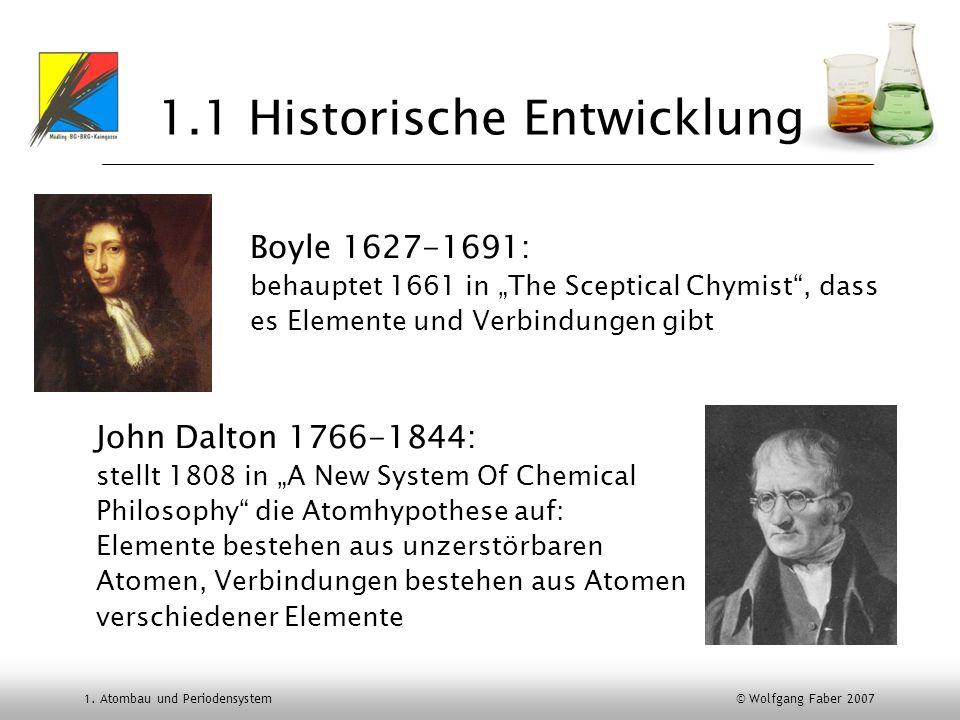 1. Atombau und Periodensystem © Wolfgang Faber 2007 1.1 Historische Entwicklung Boyle 1627-1691: behauptet 1661 in The Sceptical Chymist, dass es Elem