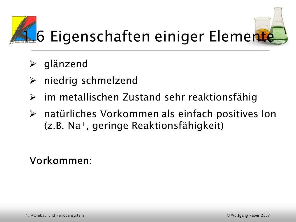 1. Atombau und Periodensystem © Wolfgang Faber 2007 1.6 Eigenschaften einiger Elemente glänzend niedrig schmelzend im metallischen Zustand sehr reakti