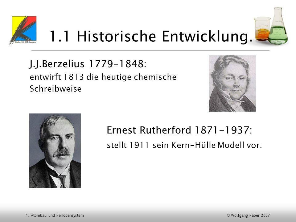 1. Atombau und Periodensystem © Wolfgang Faber 2007 1.1 Historische Entwicklung. J.J.Berzelius 1779-1848: entwirft 1813 die heutige chemische Schreibw