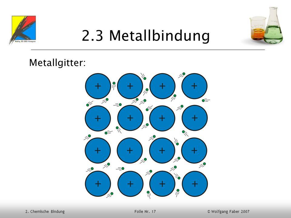 2. Chemische Bindung Folie Nr. 17 © Wolfgang Faber 2007 2.3 Metallbindung Metallgitter: