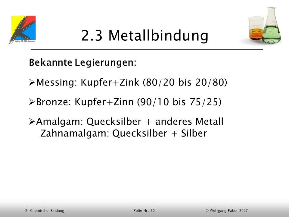 2. Chemische Bindung Folie Nr. 20 © Wolfgang Faber 2007 2.3 Metallbindung Bekannte Legierungen: Messing: Kupfer+Zink (80/20 bis 20/80) Bronze: Kupfer+