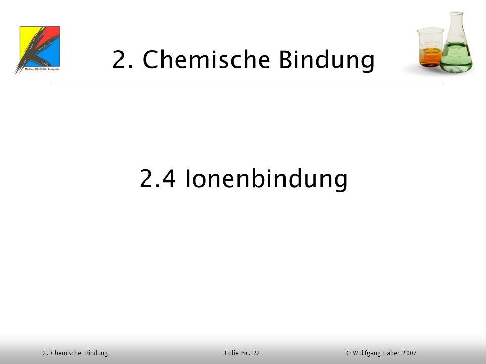 2. Chemische Bindung Folie Nr. 22 © Wolfgang Faber 2007 2. Chemische Bindung 2.4 Ionenbindung