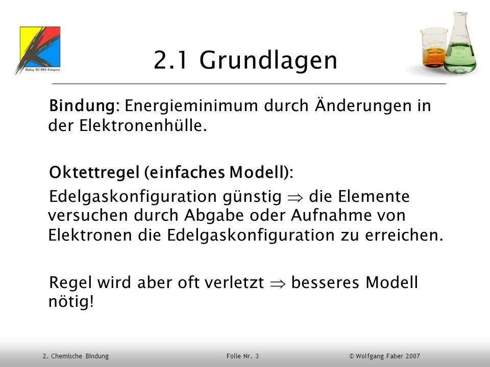 2. Chemische Bindung Folie Nr. 3 © Wolfgang Faber 2007 2.1 Grundlagen Bindung: Energieminimum durch Änderungen in der Elektronenhülle. Oktettregel (ei