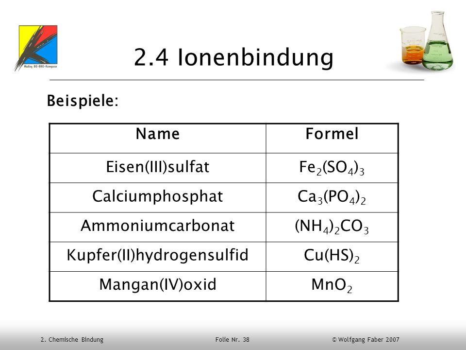 2. Chemische Bindung Folie Nr. 38 © Wolfgang Faber 2007 2.4 Ionenbindung Beispiele: NameFormel Eisen(III)sulfatFe 2 (SO 4 ) 3 CalciumphosphatCa 3 (PO