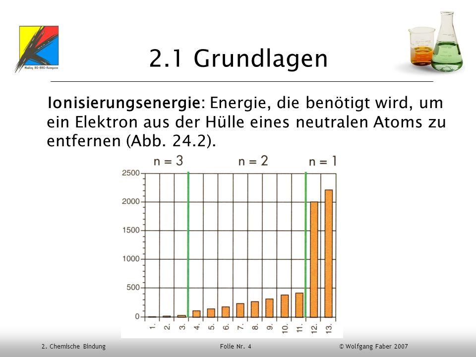 2. Chemische Bindung Folie Nr. 4 © Wolfgang Faber 2007 2.1 Grundlagen Ionisierungsenergie: Energie, die benötigt wird, um ein Elektron aus der Hülle e