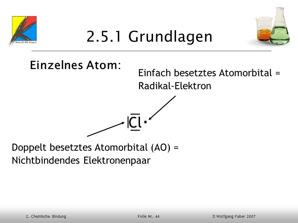 2. Chemische Bindung Folie Nr. 44 © Wolfgang Faber 2007 2.5.1 Grundlagen Einzelnes Atom: Cl Doppelt besetztes Atomorbital (AO) = Nichtbindendes Elektr