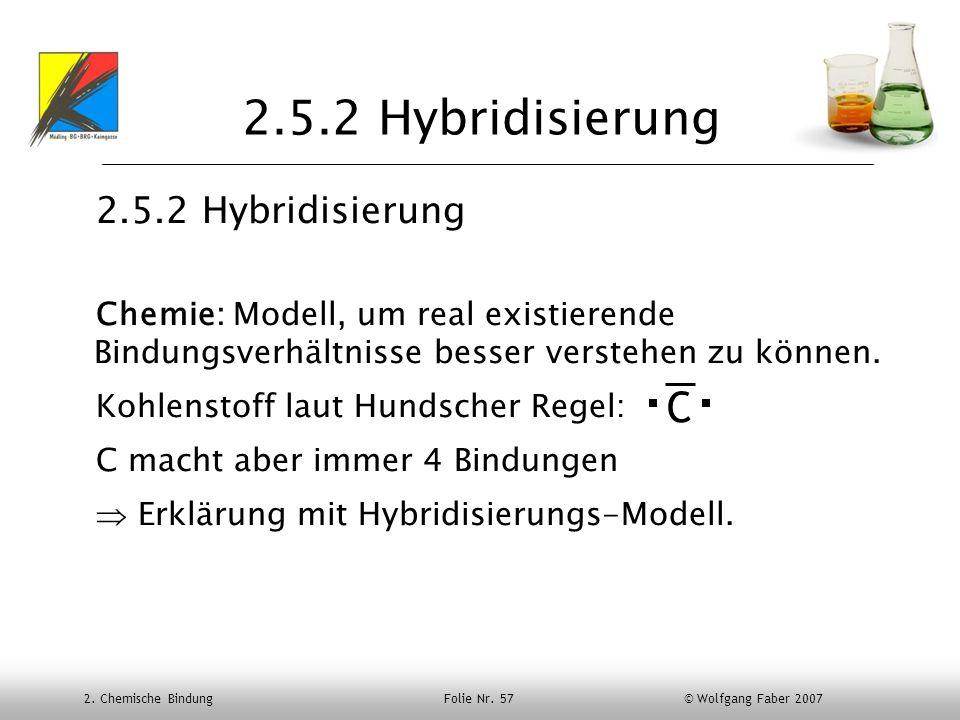 2. Chemische Bindung Folie Nr. 57 © Wolfgang Faber 2007 2.5.2 Hybridisierung Chemie: Modell, um real existierende Bindungsverhältnisse besser verstehe