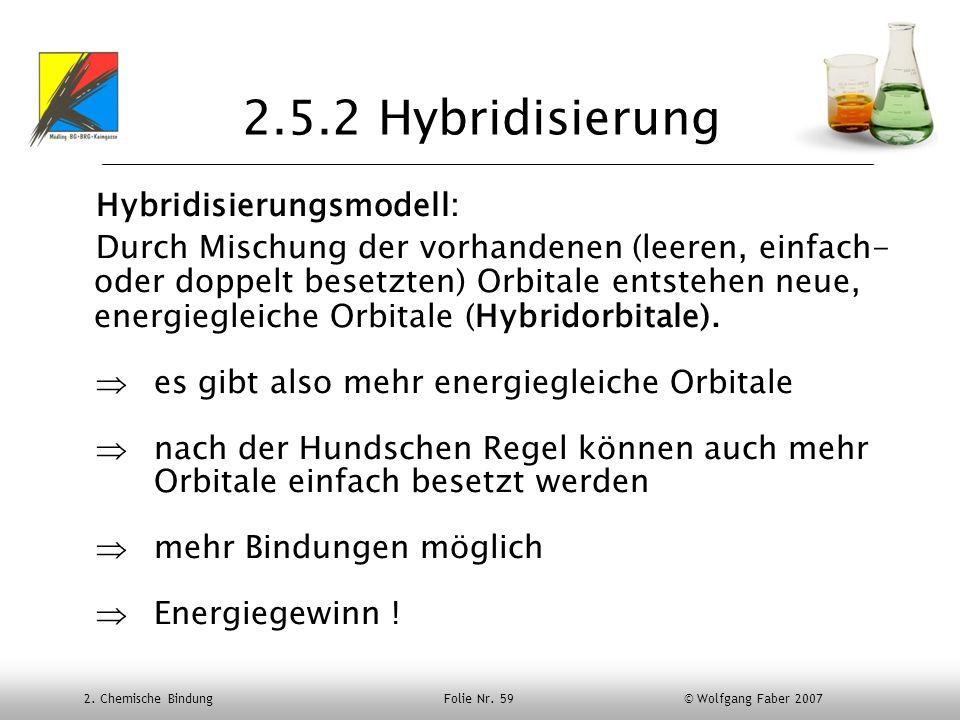 2. Chemische Bindung Folie Nr. 59 © Wolfgang Faber 2007 2.5.2 Hybridisierung Hybridisierungsmodell: Durch Mischung der vorhandenen (leeren, einfach- o