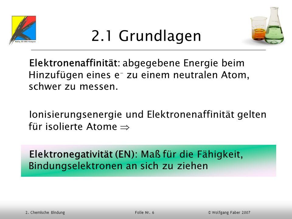 2. Chemische Bindung Folie Nr. 6 © Wolfgang Faber 2007 2.1 Grundlagen Elektronenaffinität: abgegebene Energie beim Hinzufügen eines e - zu einem neutr