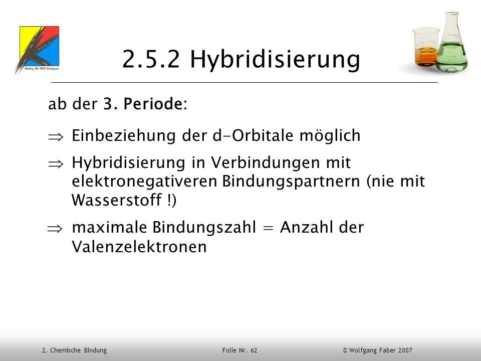 2. Chemische Bindung Folie Nr. 62 © Wolfgang Faber 2007 2.5.2 Hybridisierung ab der 3. Periode: Einbeziehung der d-Orbitale möglich Hybridisierung in