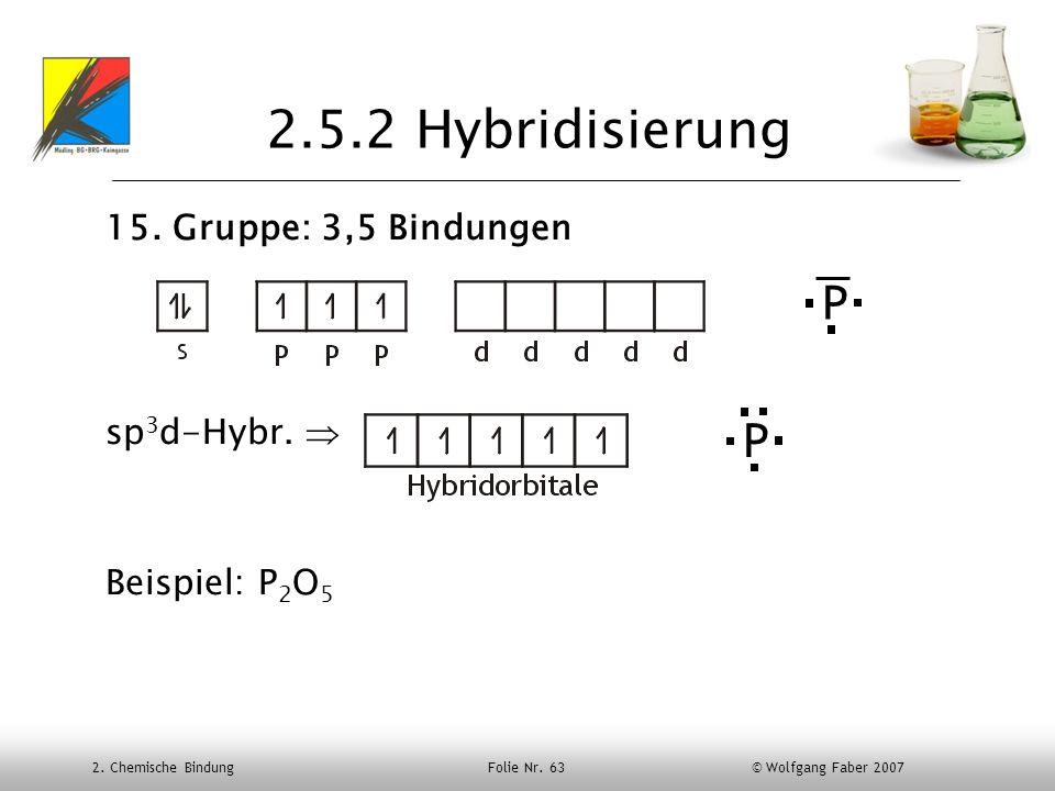 2. Chemische Bindung Folie Nr. 63 © Wolfgang Faber 2007 2.5.2 Hybridisierung 15. Gruppe: 3,5 Bindungen sp 3 d-Hybr. Beispiel: P 2 O 5 P P