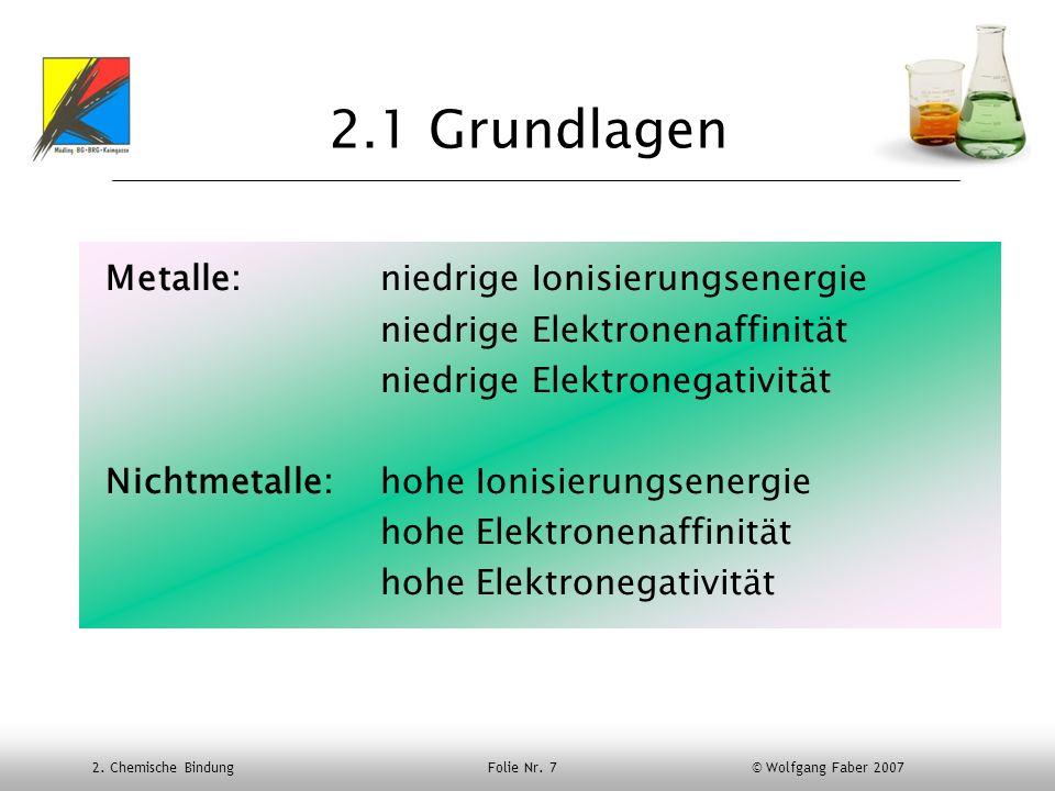 2. Chemische Bindung Folie Nr. 7 © Wolfgang Faber 2007 2.1 Grundlagen Metalle: niedrige Ionisierungsenergie niedrige Elektronenaffinität niedrige Elek