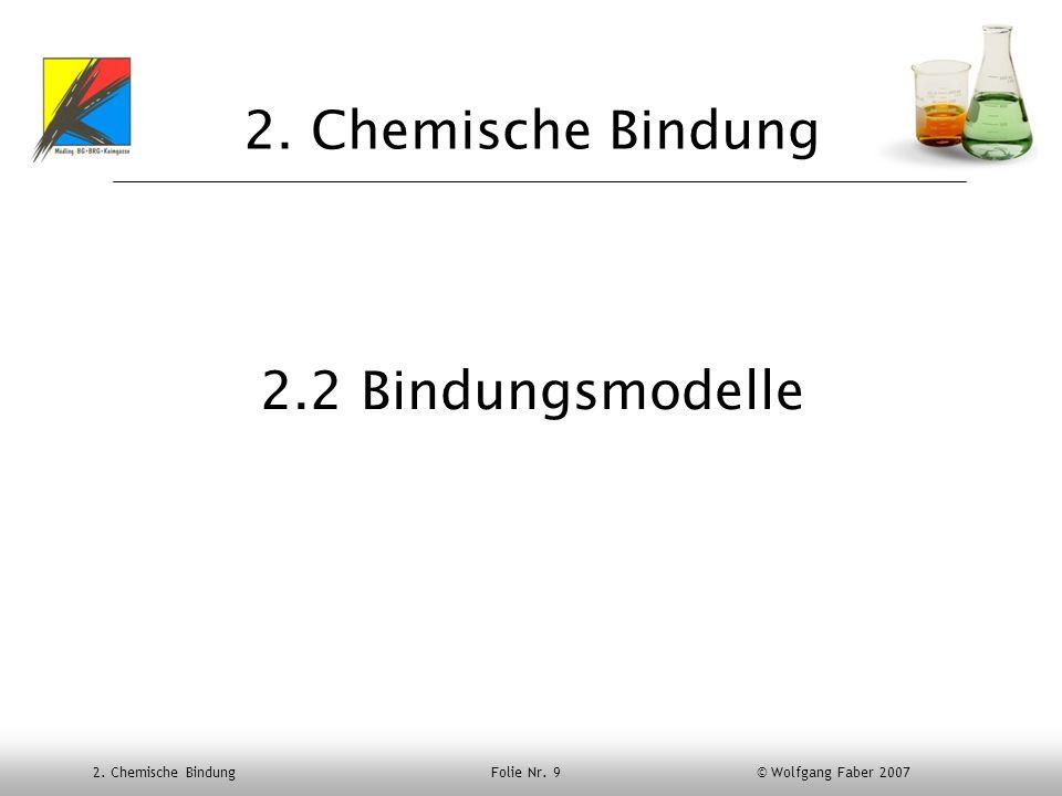 2. Chemische Bindung Folie Nr. 9 © Wolfgang Faber 2007 2. Chemische Bindung 2.2 Bindungsmodelle