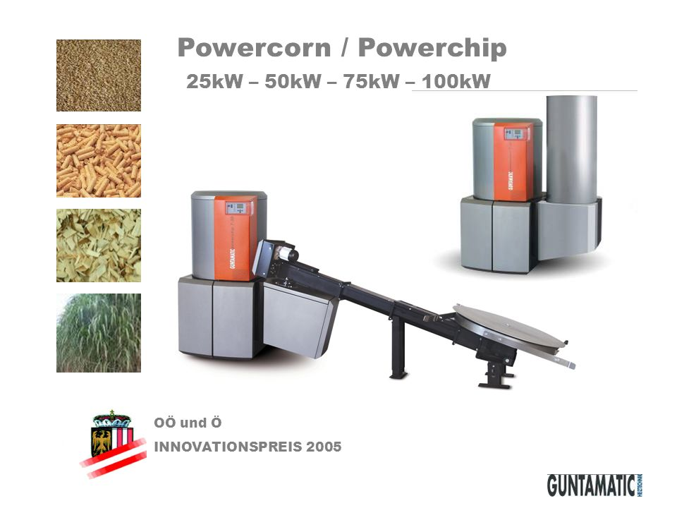 OÖ und Ö INNOVATIONSPREIS 2005 Powercorn / Powerchip 25kW – 50kW – 75kW – 100kW