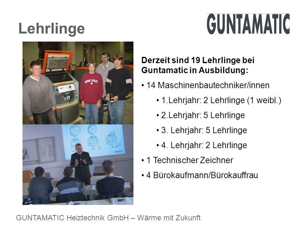 GUNTAMATIC Heiztechnik GmbH – Wärme mit Zukunft Lehrlinge Derzeit sind 19 Lehrlinge bei Guntamatic in Ausbildung: 14 Maschinenbautechniker/innen 1.Leh