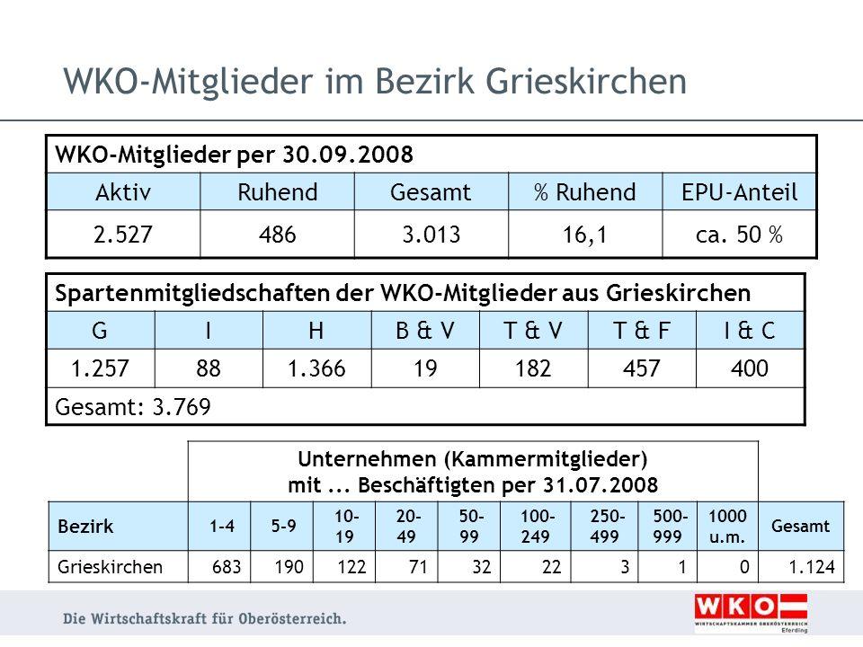 WKO-Mitglieder im Bezirk Grieskirchen Unternehmen (Kammermitglieder) mit... Beschäftigten per 31.07.2008 Bezirk 1-4 5-9 10- 19 20- 49 50- 99 100- 249