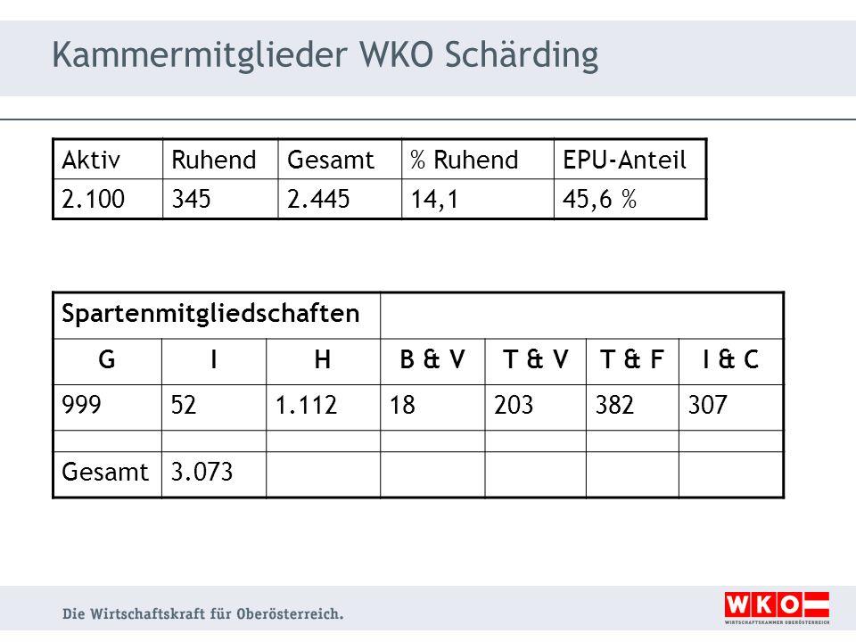 Kammermitglieder WKO Schärding Spartenmitgliedschaften GIHB & VT & VT & FI & C 999521.11218203382307 Gesamt3.073 AktivRuhendGesamt% RuhendEPU-Anteil 2