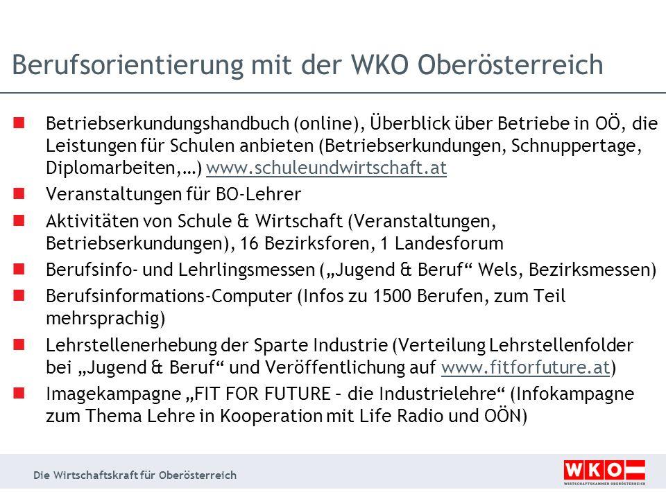 Die Wirtschaftskraft für Oberösterreich Berufsorientierung mit der WKO Oberösterreich Betriebserkundungshandbuch (online), Überblick über Betriebe in