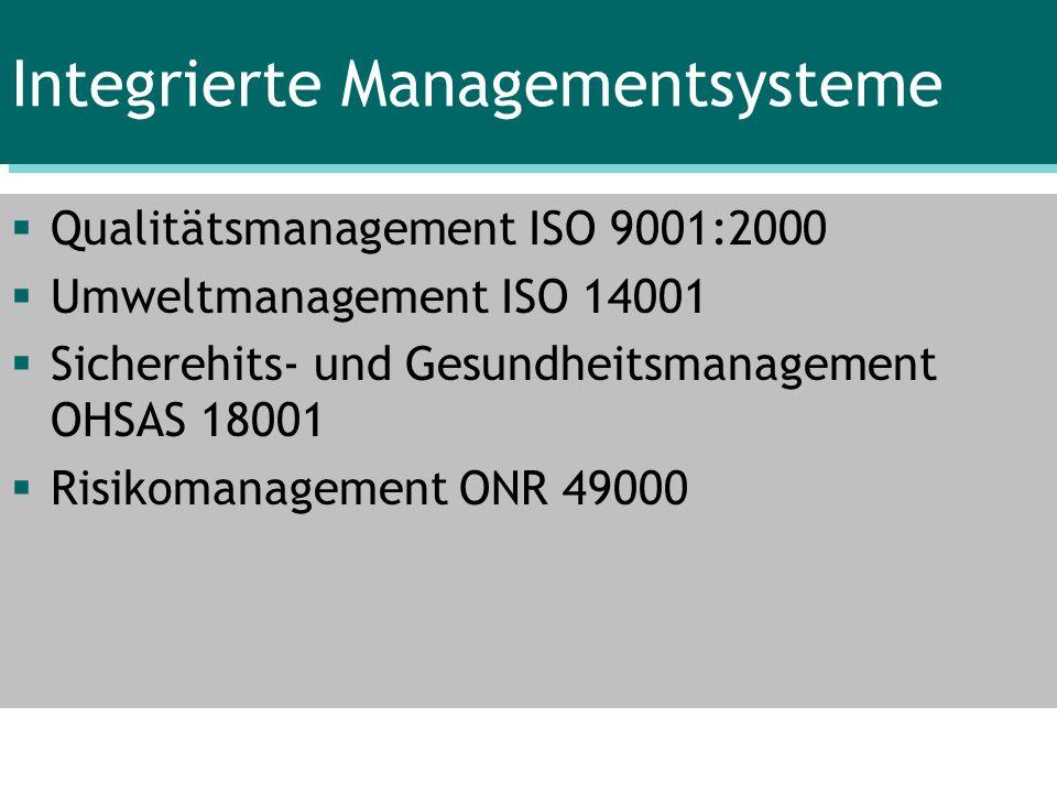 Integrierte Managementsysteme Qualitätsmanagement ISO 9001:2000 Umweltmanagement ISO 14001 Sicherehits- und Gesundheitsmanagement OHSAS 18001 Risikoma