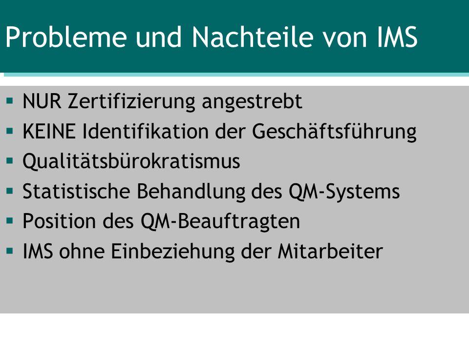 Probleme und Nachteile von IMS NUR Zertifizierung angestrebt KEINE Identifikation der Geschäftsführung Qualitätsbürokratismus Statistische Behandlung