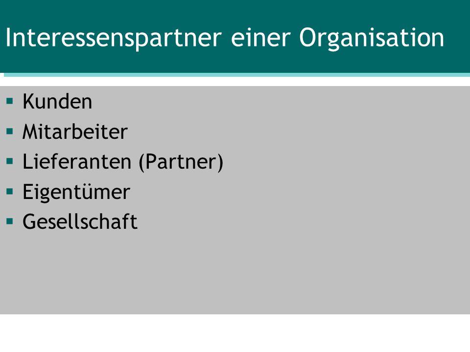 Interessenspartner einer Organisation Kunden Mitarbeiter Lieferanten (Partner) Eigentümer Gesellschaft