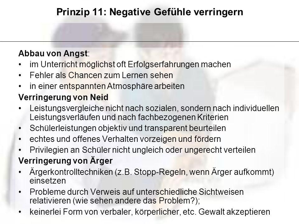 Prinzip 11: Negative Gefühle verringern Abbau von Angst: im Unterricht möglichst oft Erfolgserfahrungen machen Fehler als Chancen zum Lernen sehen in