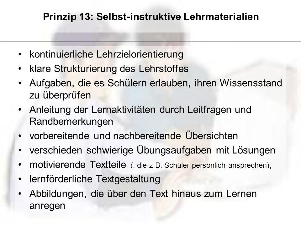 Prinzip 13: Selbst-instruktive Lehrmaterialien kontinuierliche Lehrzielorientierung klare Strukturierung des Lehrstoffes Aufgaben, die es Schülern erl