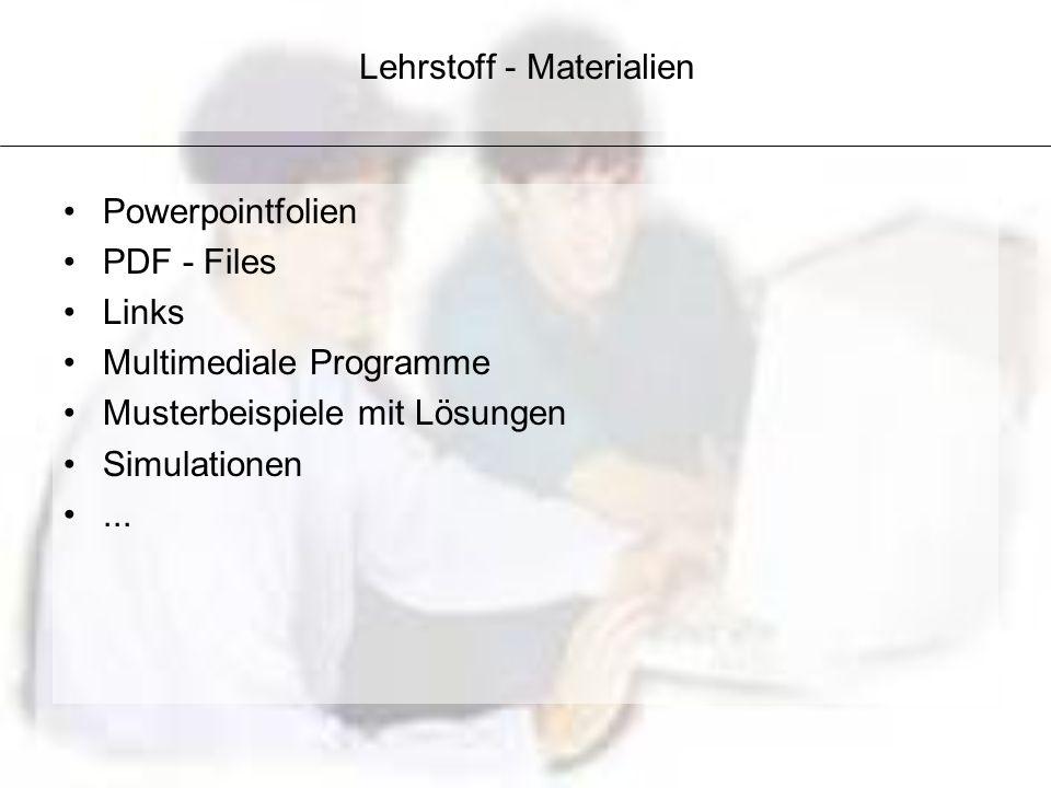 Lehrstoff - Materialien Powerpointfolien PDF - Files Links Multimediale Programme Musterbeispiele mit Lösungen Simulationen...